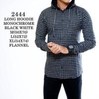 Jual kemeja pria lengan panjang flanel hoodie (topi) black monocrome 2444 Murah