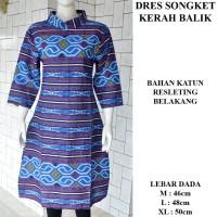 Jual Dress Songket Kerah Balik Murah