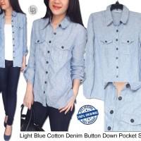 Jual Jm Light Blue Cotton Denim Button Down Pocket Shirt Murah