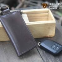 Jual Dompet STNK Kulit Gantungan Kunci Mobil Motor Cokat Brush Off Leather Murah