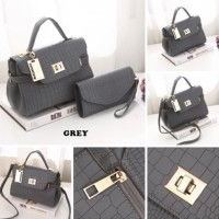 SALE TAS FASHION WANITA IMPORT - HAND BAG - MXF32B 2IN1 GREY PURPLE