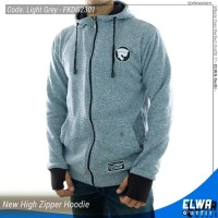 Jual NEW Jaket Sweater Hoodie Zipper Cotton Dort Tebal - Light Grey Murah