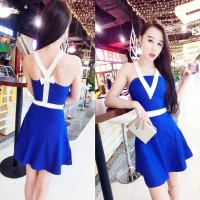 JES-SB0410 mini dress backless sexy import korea-party dress wanita
