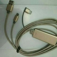 Kabel HDMI smartphone Android Samsung Tipe C/Micro/iphone, 3in1 2M
