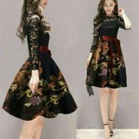 Jual Dress Midi/Mini/Gaun Brukat/Brokat/Lace Combi Batik Modern Etnik New Murah