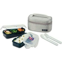 Lock & Lock Lunch Box 2 Pcs With Bag And Spoon Fork Set TERMURAH