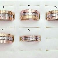 Jual cincin kombinasi emas silver perunggu asesoris titanium fashion wanita Murah