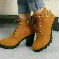 Harga sepatu boots boot tan coklat cokelat wanita cewek cewe heels hak   WIKIPRICE INDONESIA
