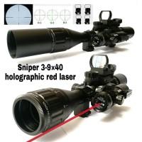 TELESCOPE SNIPER 3-9X40 ILLUMINATED HOLOGRAPHIC 4 RETICLE RED LASER