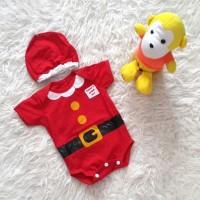 Jual Baju Bayi Jumper Bayi Merah Kostum Natal Santa Set Topi Murah