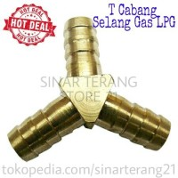 Cabang T Drat KUNINGAN Selang Kompor Gas LPG / Pembagi / Cabang Gaz