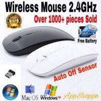 Thin Wireless Mouse APPLE SLIM WITH USB RECEIVER 2.4GHz MACBOOK LAPTOP
