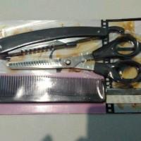 Gunting Rambut set - gunting sasak sisir pisau cukur gunting set murah