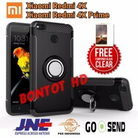PAKET 2 IN 1 CASE HP XIAOMI REDMI 4X PRIME CASING CARBON STAND RING