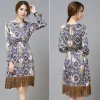 Jual Indiana tassel Bohemian ethnic floral Long dress Import Murah