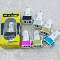 Jual DISKON Adaptor Charger Mobil Saver Car Charger 3in1 3 Output 5 1A Murah