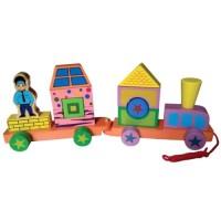 Jual Mainan Edukasi Anak - Kereta Api Kayu Telolet Edukatif Balok Terbaru Murah