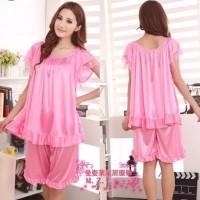 Baju tidur Piyama Setelan baju tidur Satin Jumbo Pink Polos Fit XL X