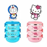 Jual Rantang Susun / Lunch Box Doraemon & Hello Kitty 3 susun (murah) Murah