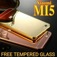 Jual XIAOMI MI 5 BUMPER ALUMINIUM MIRROR CASE + TEMPERED GLASS MI5 M5 PRO  Murah