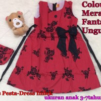 Jual Dress Bunga-Dress anak-anak-Dress Imlek Murah