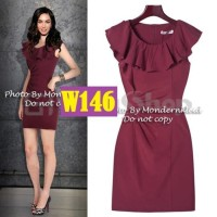 Dress Wanita big size gaun pesta merah maroon XXXL baju dress jumbo