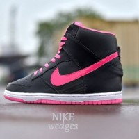 Sepatu Nike Air Wedges Hitam List Pink Size 37-40 Limited