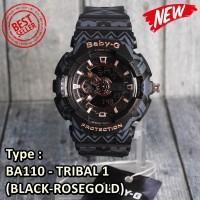 MODEL TERBARU !!! Casio Tribal BA110 Baby-G Black Rose gold , LIMITED
