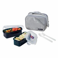 Lock & Lock Lunch Box 2 Pcs With Bag And Spoon Fork Set Color Diskon