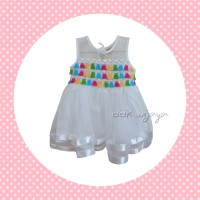 Jual Rainbow Tassel Dress Anak Putih  Murah