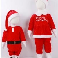Jual baju anak natal bayi baby perempuan christmas setelan celana santa Murah