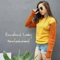Jual Sweater Round Hand Combi Mustard Caramel Sweater Diskon Murah