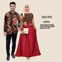 Jual Srg676 Baju Sarimbit Batik Gamis Muslimah / Baju Couple Batik Pesta Murah
