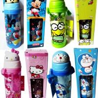 Botol Minum Kepala Karakter Hello Kitty Doraemon Keropi Mickey Lucu Un