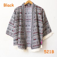 kardigan outer kimono katun batik motif tribal kecil renda sisir cream