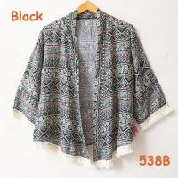 kardigan outer kimono katun batik motif bunga kecil rumbai sisir cream