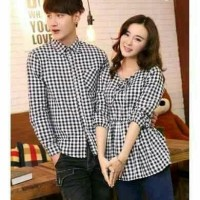 Kemeja Couple Lengan Panjang Baju Pasangan  Hem Couple Kotak Della