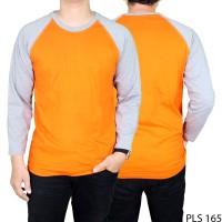 Jual PLS 165 Kaos Pria Raglan Polos Cotton Combed Orange Lengan Panjang Abu Murah