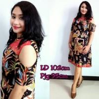 Dress batik kombinasi brokat/ dress brokat/ dress batik/ cold shoulder