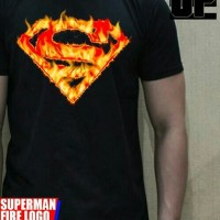 kaos 3D soulpowerstyle superman fire logo