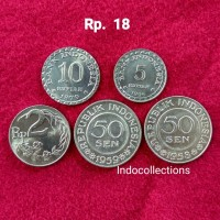 Jual Uang Kuno Uang Lama Paket Rp 18 (10+5+2+0.5+0.5) Murah