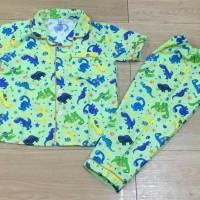 Jual Baju tidur anak piyama anak motif Dino Green Murah