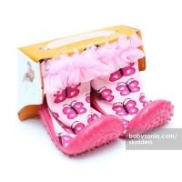 Jual  Skidders Rubber Flexible Shoes  Pink Butterfly T2909 Murah