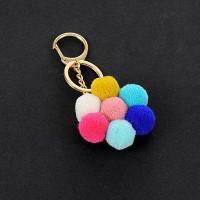 PomPom fuzzy balls key chain - RDD7D7
