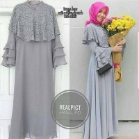 Loveres Dress Wolfis Mix Brukat Gamis Panjang Hijab Casual Modern