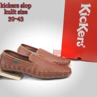 sepatu kickers gigi buaya bahan kulit sol tanam - sepatu casual slop