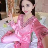 Piyama Lengan dan Celana Panjang Satin Baju Tidur Baju tidur Cewe PR