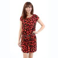 Okechuku JULIA Korean Style Midi Dress Motif dotted Fashion Korea