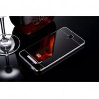 Jual Aluminium Bumper with Mirror Back Cover for Xiaomi Redmi Note 2 Black Murah
