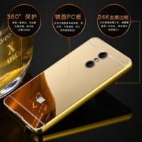 Jual Aluminium Bumper with Mirror Back Cover for Xiaomi Redmi Note 4 Golden Murah